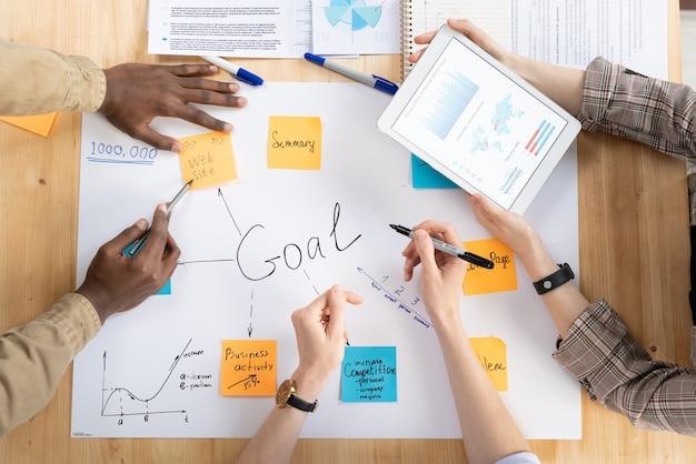 Выше мнение экспертов по многоэтническому маркетингу, обсуждающих задачи развития бизнеса на встрече