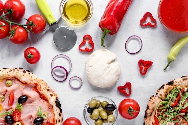 Вышеуказанное расположение ингредиентов для пиццы