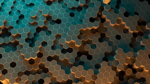 Absract hexagon pattern. 3d rendering