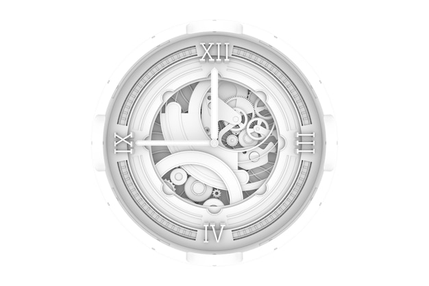 기어와 시계의 abstaract 3d 렌더링 그림입니다. 주변 폐색 패스. 섀도우 디테일 패스.