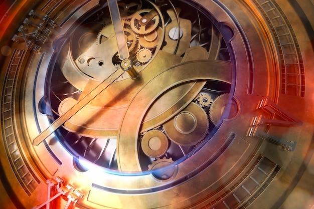 기어와 시계의 abstaract 3d 렌더링 그림입니다. 실버 및 유리 요소와 오래 된 찾고 금속입니다. 상세한 구조. 입자 및 광선 요소.