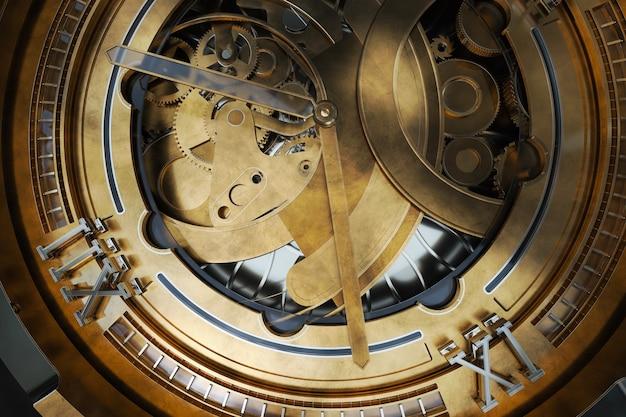 Abstaract 3d-рендеринг иллюстрации часов с шестернями. старомодный металл с элементами серебра и стекла. подробные конструкции.