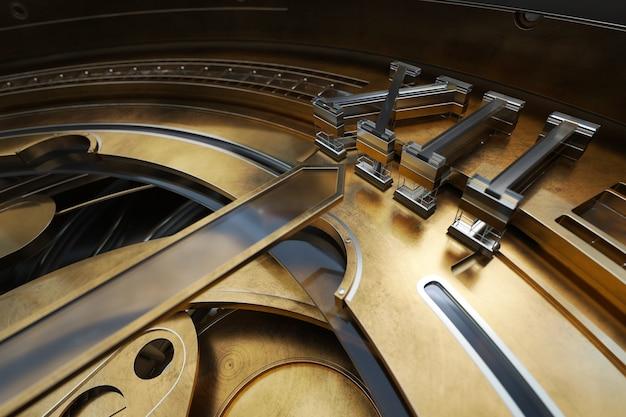 기어와 시계의 abstaract 3d 렌더링 그림입니다. 실버 및 유리 요소와 오래 된 찾고 금속입니다. 상세한 구조.