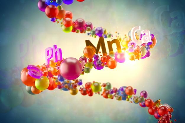 Abstrac3dレンダリングガラスのイラスト。ビタミンの概念。ランダムな色の球体と、らせん状の軌道にビタミンのタイトルが付いたテキスト。健康的なコンセプト。