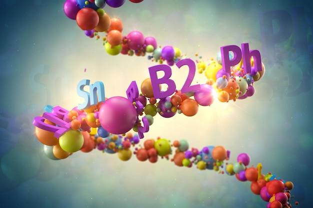 Abstrac3dレンダリングのイラスト。ランダムな色の球体と、らせん状の軌道にビタミンのタイトルが付いたテキスト。ビタミンと健康的なコンセプト。