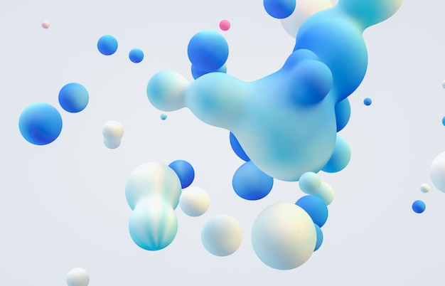 Abstract 3d art background. holographic floating liquid blobs, soap bubbles, metaballs.