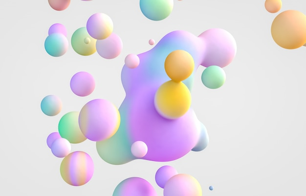 Abstract 3d art background. holographic floating liquid blobs, soap bubbles