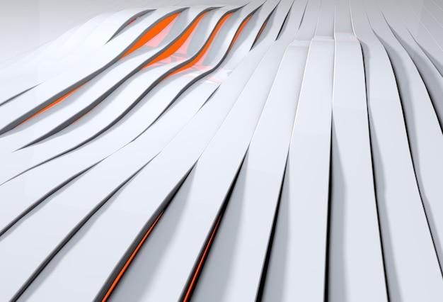 흰색 플라스틱 줄무늬를 통해 빛나는 붉은 빛의 추상 3d 배경