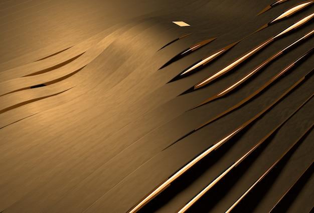 황금 물결 모양의 줄무늬가있는 추상 3d 배경