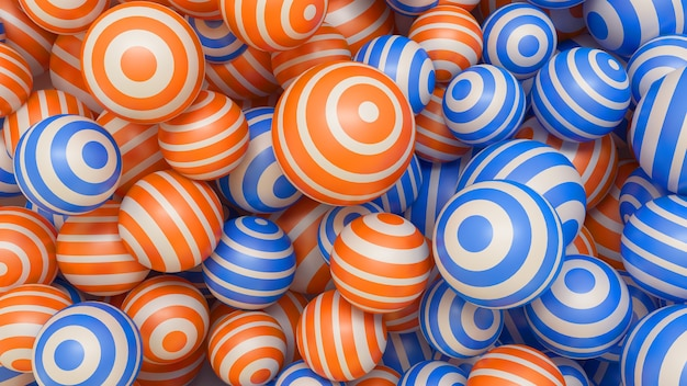 オレンジと青のマルチカラーボールと抽象的な3d背景。 3dイラスト。