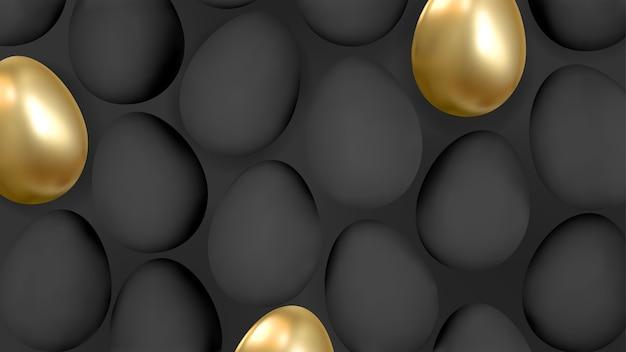 Абстрактный фон 3d с реалистичными золотыми и черными яйцами. вектор.