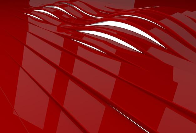 붉은 광택 플라스틱 줄무늬가있는 추상 3d 배경