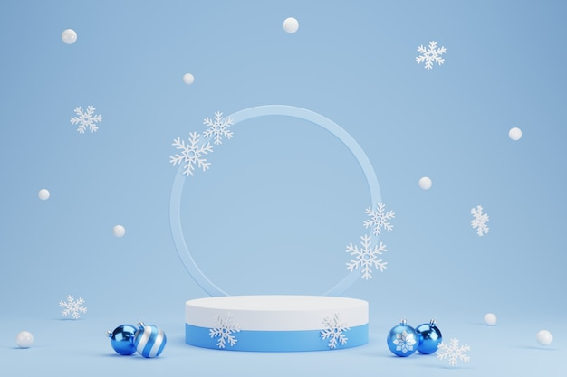 Abstract 3d blue geometric circle pedestal podium with christmas balls and snowflake