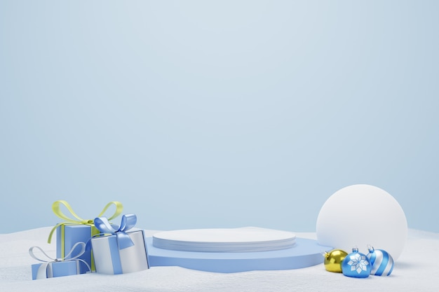 Abstract 3d blue geometric circle pedestal podium with gifts and snow