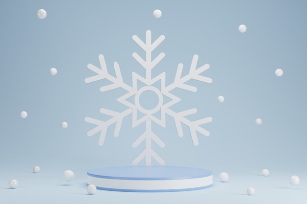 Abstract 3d blue geometric circle pedestal podium with snowflake