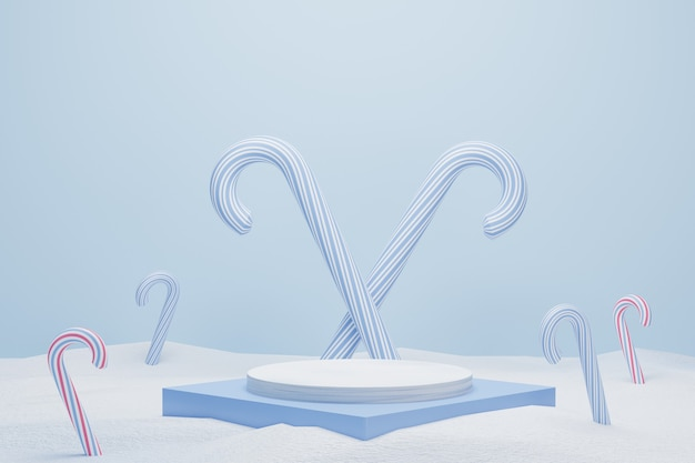 Abstract 3d blue geometric pedestal podium with candy cane and snow