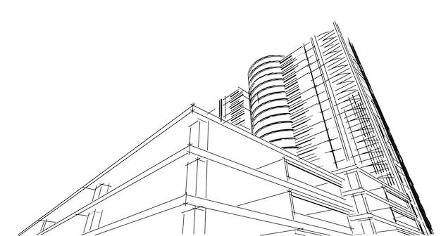 抽象的な3d建物のワイヤーフレーム構造。イラスト構築グラフィックアイデア、建築スケッチアイデア。
