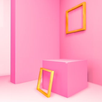 Abstract 3d composition. pastel pink room for product display with geometric 3d empty gold frame