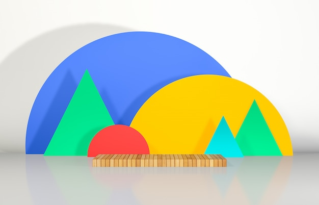 Abstract 3d composition podium backdrop with geometric shape for product display.