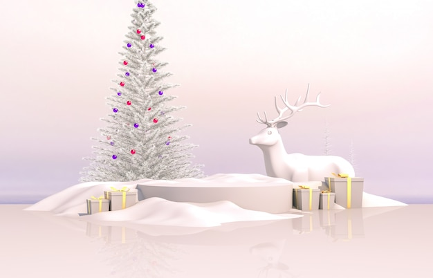 Abstract 3d composition. winter christmas background with christmas tree, reindeer and gift box.