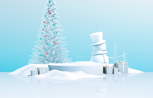 Abstract 3d composition. winter christmas background with christmas tree, snow man and gift box.
