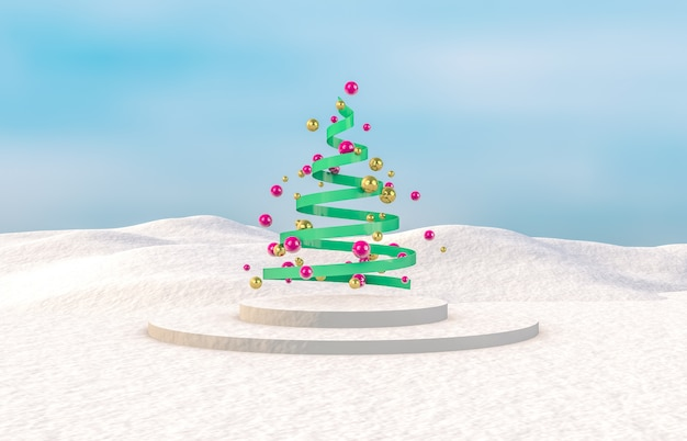 Abstract 3d composition. winter christmas background with christmas tree.