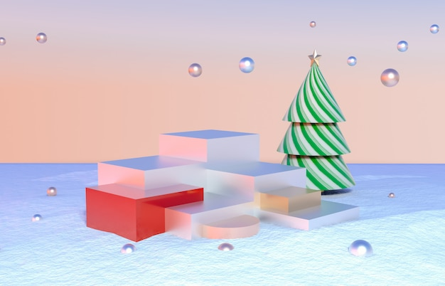 Abstract 3d composition with geometrical forms for product display. winter christmas scene background.
