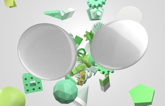 Abstract 3d copia spazio perni e oggetti volanti