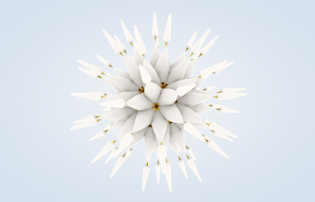 Abstract 3d flower art with snow and gold texture. winter snowflake.