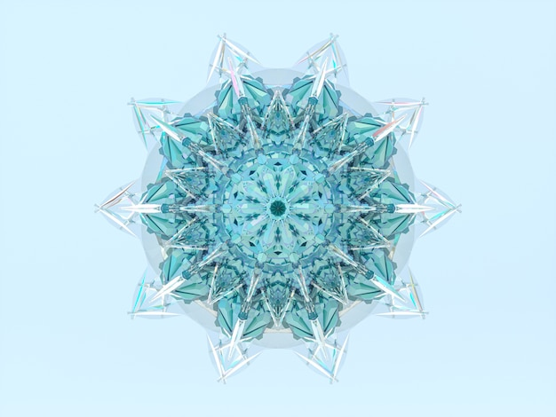 抽象的な3 dの幾何学的なクリスタルマンダラスノーフレーク。