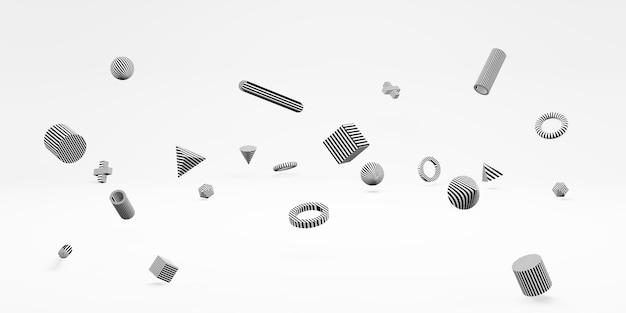 抽象的な3d幾何学的形状キューブとシンプルな背景最小限のスタイルの3dイラスト