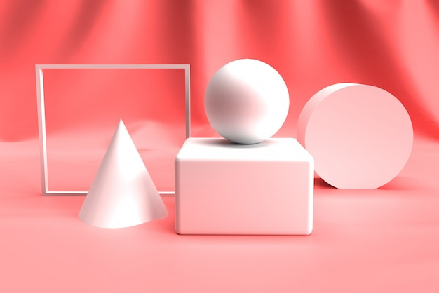 Abstract 3d geometry shape set on pink color background.
