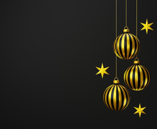 Abstract 3d gold black with christmas balls and stars on black background