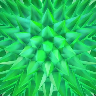 抽象的な 3d グリーンのきらめく鋭い結晶