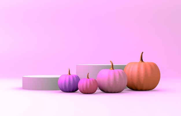 Abstract 3d halloween backdrop with white cylinder box and pink pumpkins
