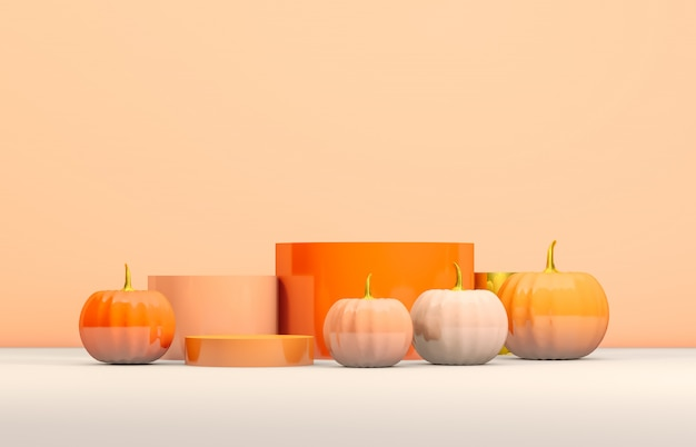 Abstract 3d halloween podium with orange cylinder box and pumpkins for products display.