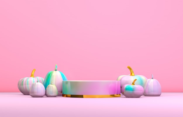 Abstract 3d halloween podium with pastel pink cylinder box and pumpkins for products display.