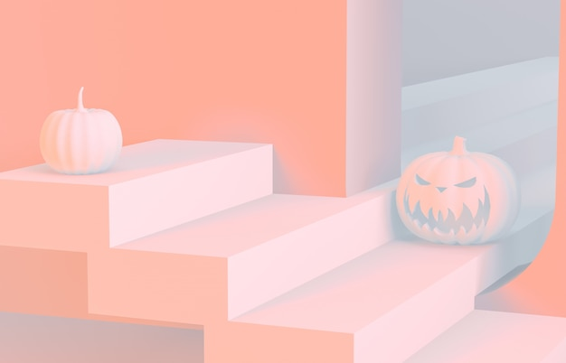 Abstract 3d halloween scene with stairs and pumpkin.