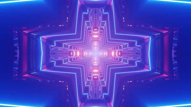Abstract 3d illustration of bright neon lines forming cross shaped ornament in blue tunnel