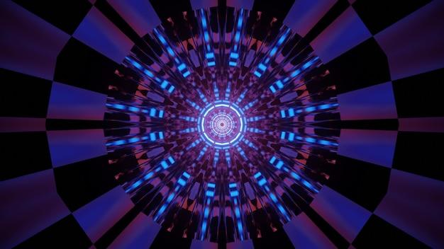 ネオン照明の未来的なトンネルの視覚効果を形成する円と線で光る多色の幾何学模様の抽象的な3dイラスト