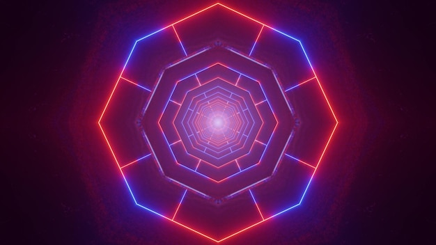 Abstract 3d illustration of glowing red and blue lines forming neon tunnel with geometric ornament