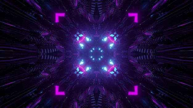 Abstract 3d illustration inside of dark tunnel with round hole and glowing triangle lines in colorful neon illumination