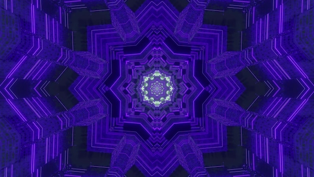 Abstract 3d illustration of kaleidoscopic tunnel with creative symmetric ornament of dark blue color
