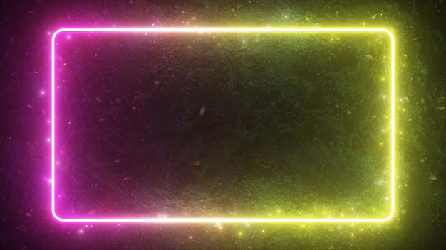 Abstract 3d illustration of neon glowing frame