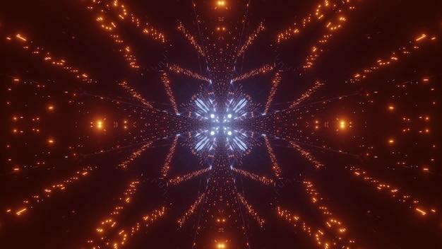 Абстрактная трехмерная иллюстрация ярких оранжевых и синих блесток, образующих симметричный орнамент в темноте