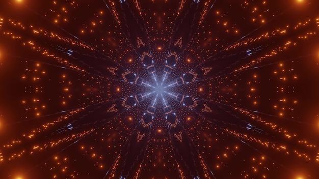 Абстрактные 3d иллюстрации ярко-красных и синих блесток, образующих симметричный круглый орнамент