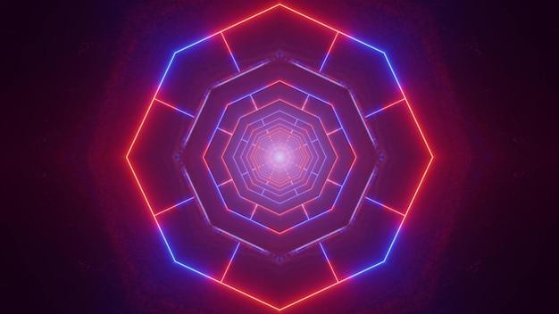Абстрактная 3d иллюстрация светящихся красных и синих линий, образующих неоновый туннель с геометрическим орнаментом