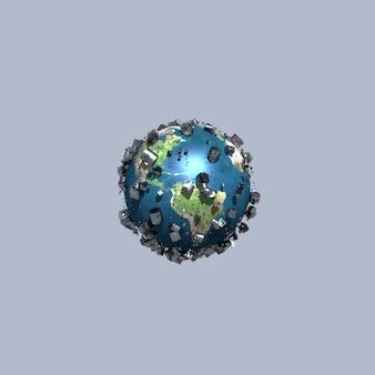 灰色の背景上のオブジェクトに囲まれた惑星地球の抽象的な3dイラスト