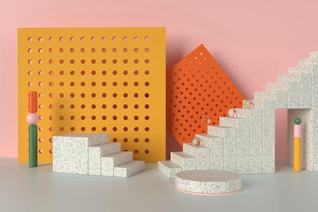 さまざまな幾何学的形状の製品ディスプレイの抽象的な3dイラスト。モザイク階段表彰台