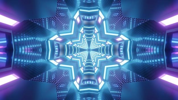 Абстрактная трехмерная иллюстрация симметричного туннеля в форме креста, освещенного синими и фиолетовыми неоновыми лампами